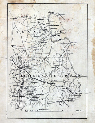 1862 Map Part of McNairy Hardin County Tennessee and Alcorn Tishomingo County