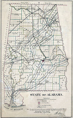1866 Map of Alabama State
