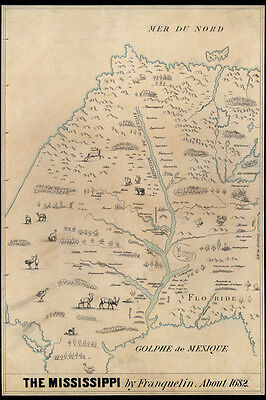 1682 Early Map of the Mississippi River Area