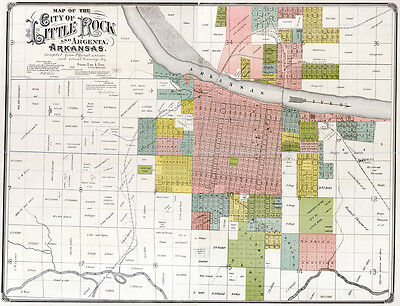 1888 Map of Little Rock and Argenta Arkansas
