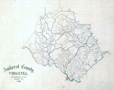 1867 Map of Amherst County Virginia