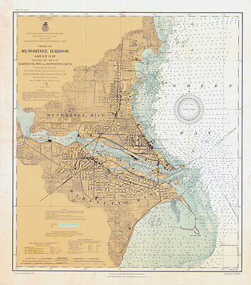 1910 Map of Menominee Harbor Green Bay Marinette Wis