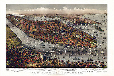 1875 Panoramic Map of New York City and Brooklyn