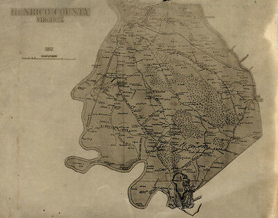1862 Map of Henrico County Virginia