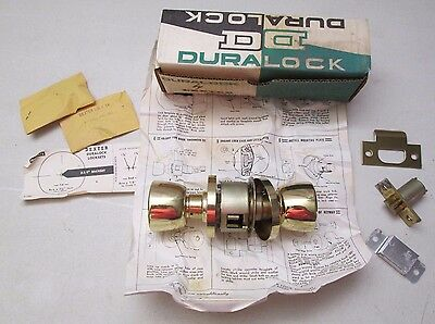 Vintage Duralock Dexter Door Knob Cylindrical Locksets Entry P.B. Keys 7242 NOS