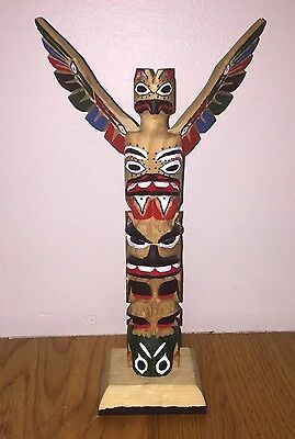 Thunderbird PNW Native Totem Pole Hand Carved by Rick T Williams Seattle Legend