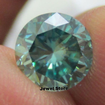 MOISSANITE 1.83   CT 8.20 mm BLUE/ GREEN  DIAMOND CUT REAL TESTED US SELLER