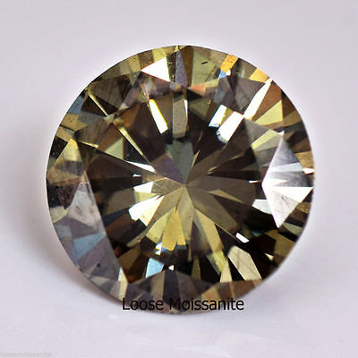 MOISSANITE REAL  0.64 ct 5.75 MM   GREENISH BROWN    TESTED US SELLER