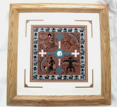 "Magnificent Framed & Double Matted Navajo Sand Painting ""Creation Story"""