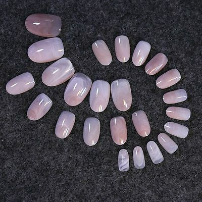 Beige Pink Marble Nail Art Full Tips Pearl Round Grace Lady False Nails Z223