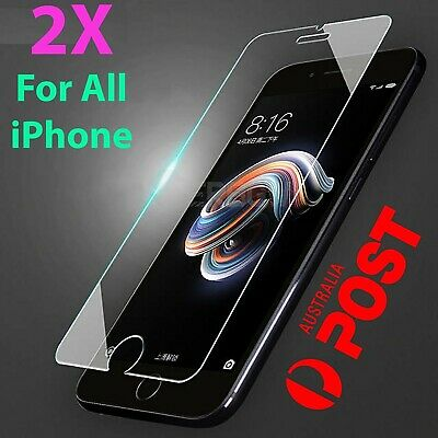 2x Tempered Glass Screen Protector iPhone 7 11 PRO Max XR X XS 6s 6 plus 8 4 0zr