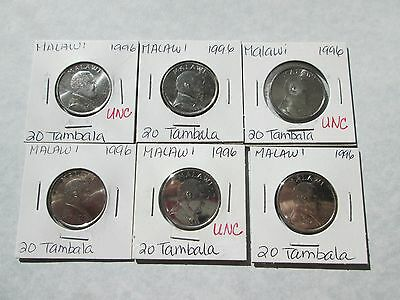 MALAWI    6 coins,   20 tambala,  1996,  circ-unc.,  carded