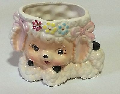Vintage Baby Lamb with Flowers in White Curls Rubens Planter Vase