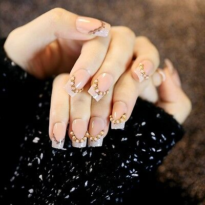 Glitter Flat French Nails Press-On Nails Pearl Beads DIY Nail Designe Tips Z229