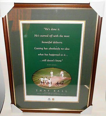 """That Ball"", Personally Signed by Shane Warne and Mike Gatting, Framed"