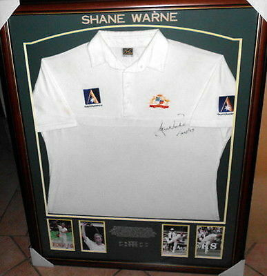 Shane Warne Personally Worn and Signed Australian Test Shirt, 1996/1997, Framed