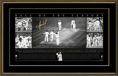 Shane Warne Personally Signed 'Ball of the Century' Panoramic, Framed - $100 OFF