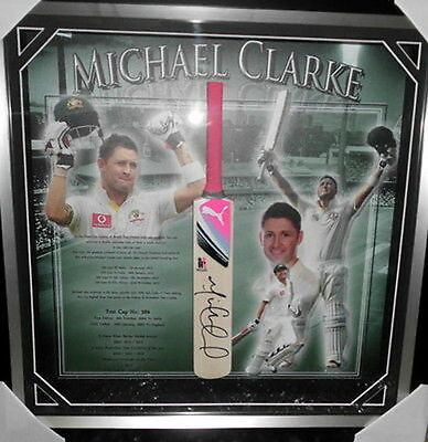 Michael Clarke Personally Signed Mini-Bat, Framed - SUPER SPECIAL!