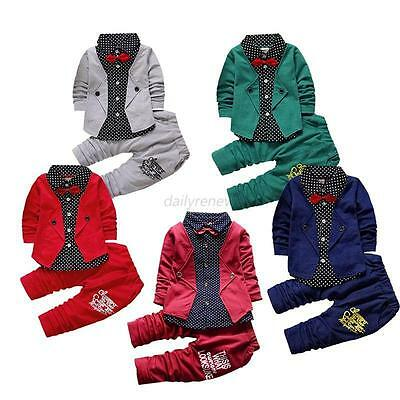 3 PCS Baby Boy Suit + Tie Tops Shirt + Pants Trousers Kids Clothes Outfits Sets