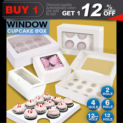 Cupcake Boxes 5/10/20/25 Pk Window Face With Inserts Cake Boxes Boards 5 SIZE