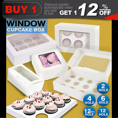 CupcakeBoxes 5/10/20/50/100pcs Window Face With Inserts Cake Boxes Board 5 Sizes