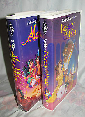 Original Black Diamond Walt Disney Aladdin & Beauty & Beast Clam Shell VHS Video