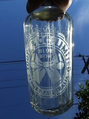 Vintage Blue Bow  Syphon Glass Bottle  -Tooth & Co .sydney Australia