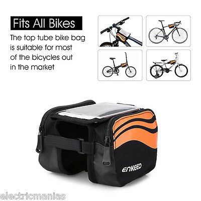 Waterproof Cycling Bike Bicycle Front Frame Pannier Tube Bag Cell Phone Pouch UK