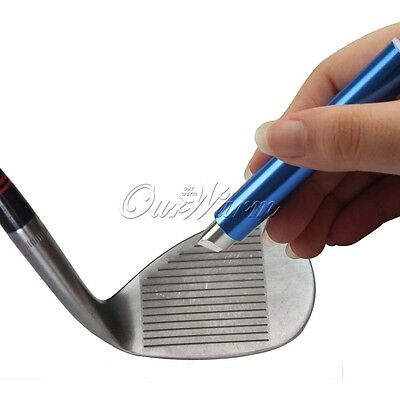 Golf Iron Wedge Club Groove Sharpener Cleaner U V Regrooving Tool Blue/Silver