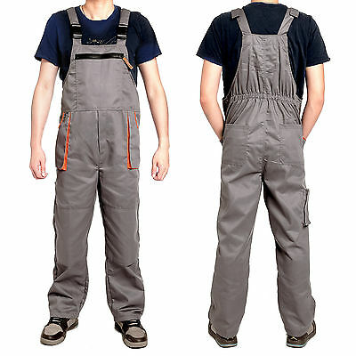 Mens Work Wear Bib And Brace Overalls Coveralls Trousers With Kneepad Pockets