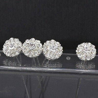 10 Clear Rhinestone Hair Pins Diamante Crystal Clip Bridal Wedding Party Silver