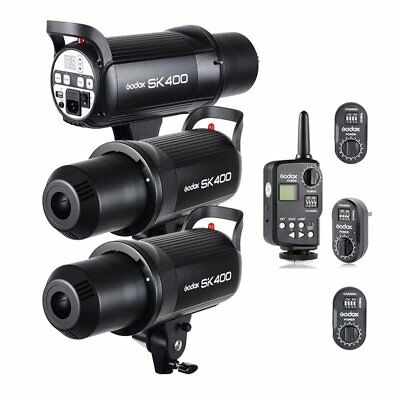 3X Godox SK400 400Ws Photography Studio Strobe Flash + FT-16 Trigger Kit
