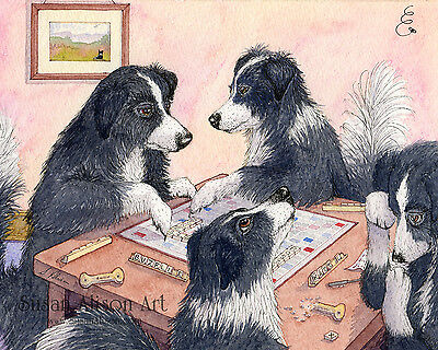 Border Collie dog 8x10 print playing Scrabble board game words by Susan Alison