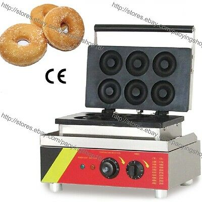 Commercial Nonstick Electric 6pcs 7.5cm Ring Doughnuts Donut Baker Maker Machine