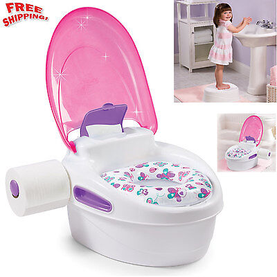Toilet Pee Trainer Chair Training Seat Potty Baby Toddler Step Stool Kids Girl
