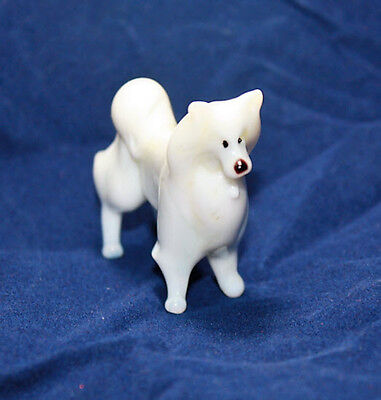 Blown Glass Murano Art Figurine Glass Dog Samoyed