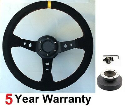 Corsica Deep Dish Suede Steering Wheel And Boss Kit For Bmw E46 Drifting