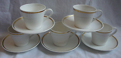Tuscan Fine Bone China x5 Coffee Cups & Saucer - Sovereign Gold & White VGC