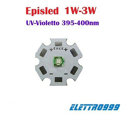 LED EpisLed 3W UV-Violetto 395-400nm + supporto star. Per acquario, reef, arredo