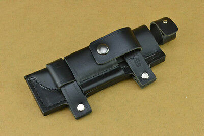 """2018 Leather Belt Sheath Straight Case Black For Less 7"""" Fixed Knife Pouch Gift"""