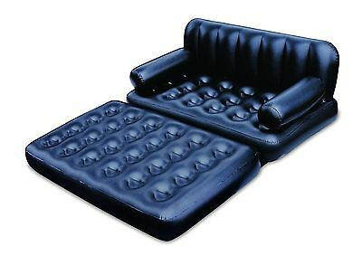 5 In 1 New Inflatable Double Sofa Air Bed Couch Lounger Camping Home Mattress