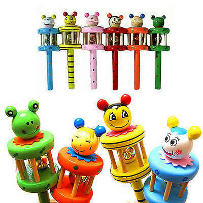 1-Bell Jingle Wooden Rainbow Shaker Stick Musical Instrument Toy For Baby Kid HA