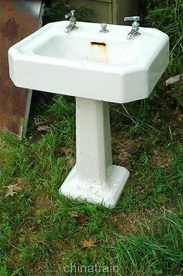 Antique Cast Iron Porcelain Pedestal Bathroom Sink & Faucets