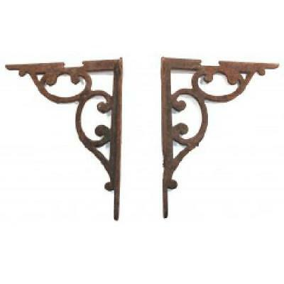 Pair of Stout Cast Iron Antique Victorian Early Industrial Shelf Brackets with S