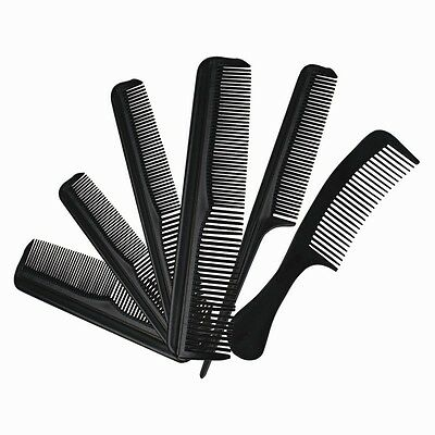 6 piece Hair Styling Comb Set Professional Black Hairdressing Brush Barbers DW