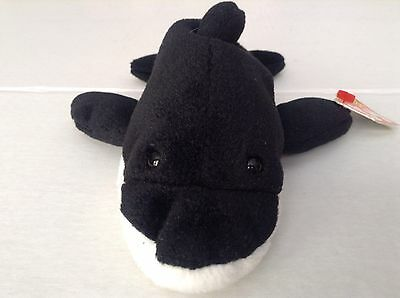 Ty Beanie Baby Original Black and White Splash Killer Whale Birthday 7-8-93