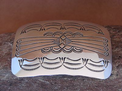 Native American Indian Jewelry Sterling Silver Hand Stamped Belt Buckle!