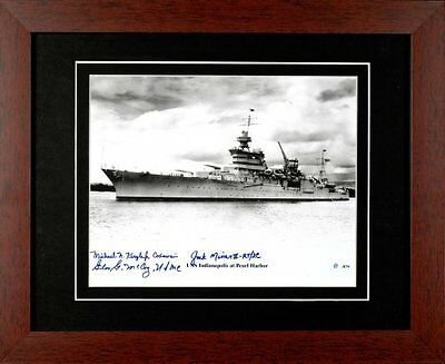 USS Indianapolis CA-35 US Navy Ship WWII Framed Photo Signed By 3 Survivors Coa