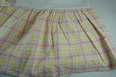 POTTERY BARN KIDS bed skirt TWIN Plaid Pink Yellow White Ruffled