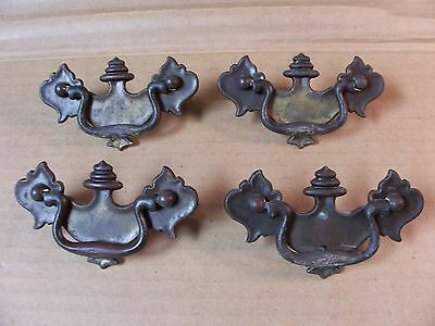(4) Antique  Brass  Drawer Pulls / Handles-- Solid Brass -- Screws Included